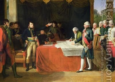 Preliminaries of the Peace Signed at Leoben by Guillaume Guillon Lethiere - Reproduction Oil Painting