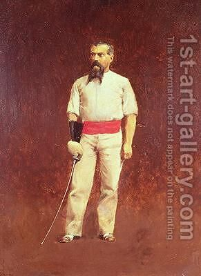 Richard Burton 1821-90 in Fencing Dress by Albert Letchford - Reproduction Oil Painting