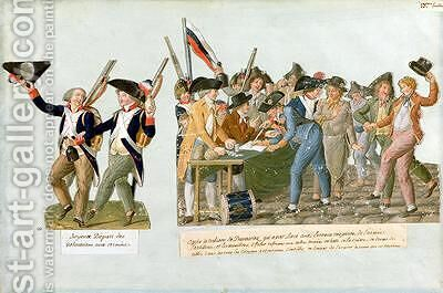 Happy Departure of the Army Volunteers by Brothers Lesueur - Reproduction Oil Painting