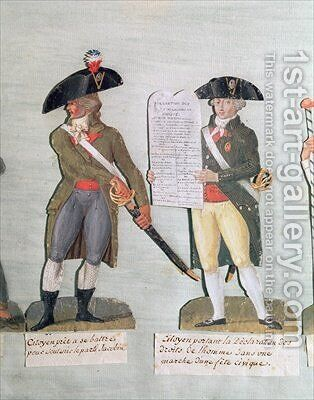 A Citizen Ready to Fight and a Citizen Carrying the Declaration of the Rights of Man by Brothers Lesueur - Reproduction Oil Painting