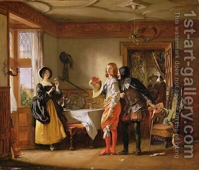 Slender with the assistance of Shallow Courting Anne Page by Charles Robert Leslie - Reproduction Oil Painting