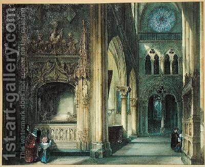 Interior of a Church by Charles Louis Lesaint - Reproduction Oil Painting