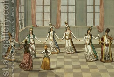 Dance that is fashionable with the Greek women of Constantinople led by the woman holding a handkerchief by (after) Leonardis, Giacomo - Reproduction Oil Painting
