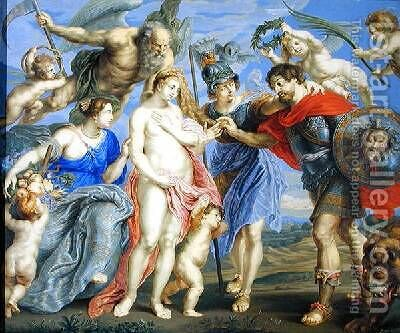 Mars Introduced by Minerva to Occasion accompanied by Ceres by Bernard III Lens - Reproduction Oil Painting