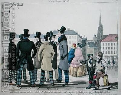 Elegant Men Wearing Scottish Trousers on the Streets of Vienna by (after) Lempis - Reproduction Oil Painting