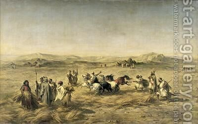 Threshing Wheat in Algeria by Adolphe Pierre Leleux - Reproduction Oil Painting