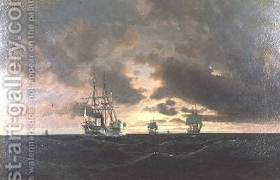 A Paddle Steamer and Other Shipping in a Swell by Heinrich Leitner - Reproduction Oil Painting