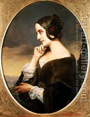 Portrait of the Countess Marie dAgoult 1805-76 by Henri (Karl Ernest Rudolf Heinrich Salem) Lehmann - Reproduction Oil Painting