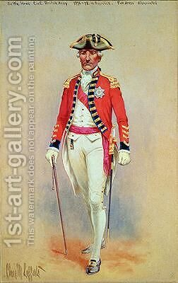 Sir William Howe Commander in Chief of the British Army 1776-78 in full dress dismounted by Charles MacKubin Lefferts - Reproduction Oil Painting
