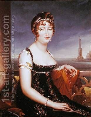 Portrait of Caroline Bonaparte 1782-1839 Queen of Naples by (attr. to) Lefevre, Robert - Reproduction Oil Painting