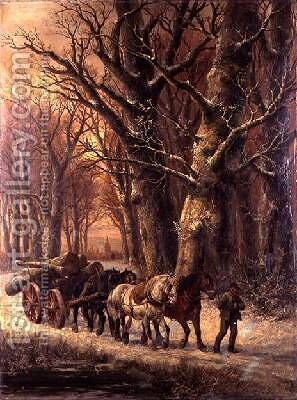 Logging in the Snow 2 by Alexis de Leeuw - Reproduction Oil Painting