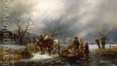 The Frozen River by Alexis de Leeuw - Reproduction Oil Painting