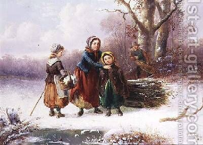 Snow Scene by Alexis de Leeuw - Reproduction Oil Painting