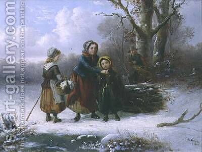 Three Girls in a Winter Landscape by Alexis de Leeuw - Reproduction Oil Painting