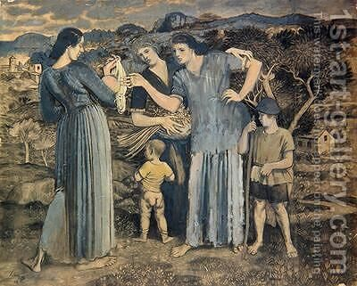 Mothers and Children in Landscape by Derwent Lees - Reproduction Oil Painting