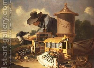 A Birdcatcher and His Dog by Antonius Leemans - Reproduction Oil Painting