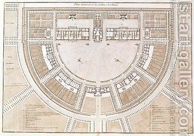 General plan of the salt works in the ideal city of Chaux by Claude Nicolas Ledoux - Reproduction Oil Painting