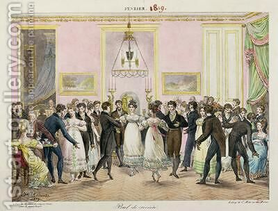 A Society Ball by Hippolyte Lecomte - Reproduction Oil Painting