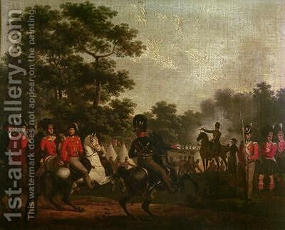 Duke of Wellington visiting outposts by Hippolyte Lecomte - Reproduction Oil Painting