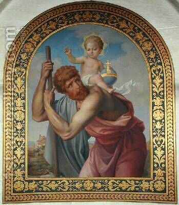 St Christopher Carrying the Infant Jesus by Edmond Lechevallier-Chevignard - Reproduction Oil Painting