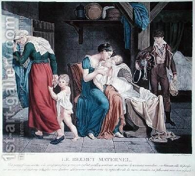 The Death of the baby put in the care of a nurse by Charles-Jacques Lebel - Reproduction Oil Painting