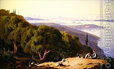 Corfu from the Hill of Gastouri by Edward Lear - Reproduction Oil Painting