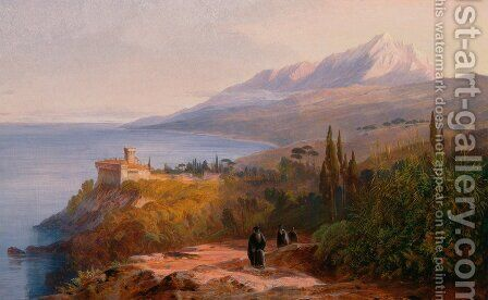 Mount Athos and the Monastery of Stavroniketes by Edward Lear - Reproduction Oil Painting