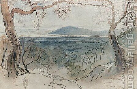 A View on Levkas Ionian Islands by Edward Lear - Reproduction Oil Painting