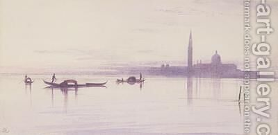 San Giorgio Maggiore from the Lagoon Venice by Edward Lear - Reproduction Oil Painting