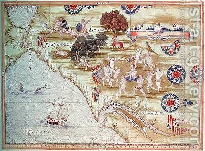 Map of Florida and the Caribbean by Guillaume Le Testu - Reproduction Oil Painting