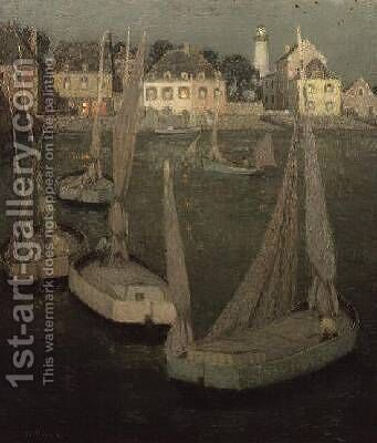 Brittany Port by Moonlight by Henri Eugene Augustin Le Sidaner - Reproduction Oil Painting