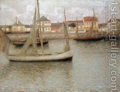 Boats Heyst by Henri Eugene Augustin Le Sidaner - Reproduction Oil Painting