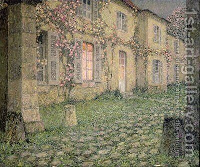 House with Roses at Dusk by Henri Eugene Augustin Le Sidaner - Reproduction Oil Painting