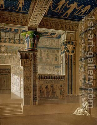 Interior view of the West Temple of the Memnonium Thebes by (after) Le Pere - Reproduction Oil Painting