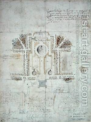 Plan of a house and garden at Greenwich by Andre Le Notre - Reproduction Oil Painting