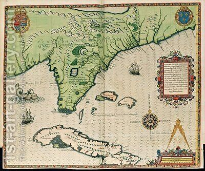 Map of Florida by (after) Le Moyne, Jacques (de Morgues) - Reproduction Oil Painting