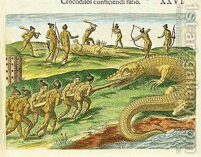 Hunting Crocodiles by (after) Le Moyne, Jacques (de Morgues) - Reproduction Oil Painting