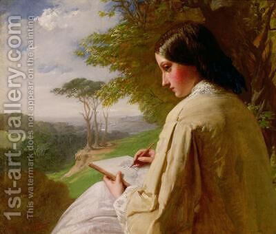 Young Lady sketching in a landscape by Henry Le Jeune - Reproduction Oil Painting