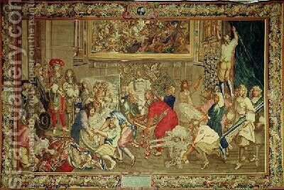 Louis XIV 1638-1715 visiting the Gobelins factory by Charles Le Brun - Reproduction Oil Painting