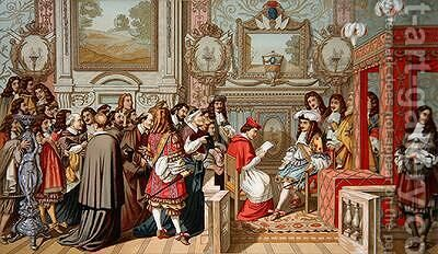Louis XIV 1638-1715 receiving the Papal Legate at Fontainebleau by (after) Le Brun, Charles - Reproduction Oil Painting