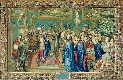 Audience Granted by Louis XIV 1638-1715 to the Count of Fuentes Royal Ambassador of Philip IV of Spain at the Louvre by (after) Le Brun, Charles - Reproduction Oil Painting