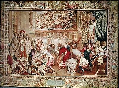 Louis XIV 1638-1715 visiting the Gobelins factory by (after) Le Brun, Charles - Reproduction Oil Painting