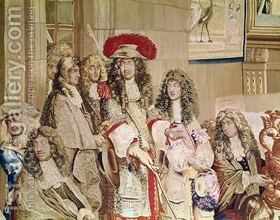 Louis XIV 1638-1715 visiting the Gobelins factory 2 by (after) Le Brun, Charles - Reproduction Oil Painting