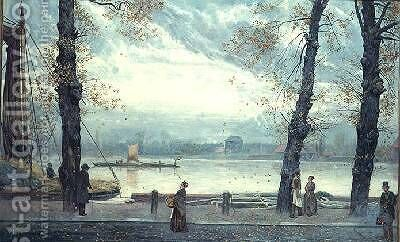 Riverside Scene by Cecil Gordon Lawson - Reproduction Oil Painting