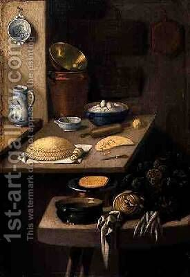 Kitchen Still Life of Vegetables and Preparations for Baking a Cake by E. K. Lautter - Reproduction Oil Painting