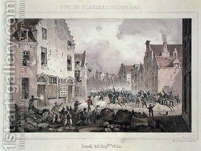Fighting and Barricades in the Rue de Flandre Brussels by (after) Lauters, Paulus - Reproduction Oil Painting