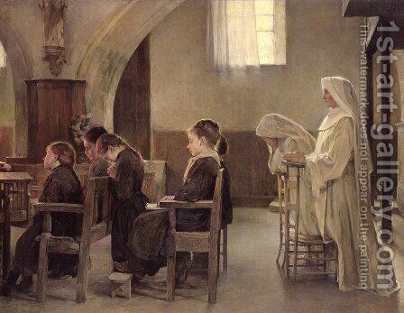 The Eve of the First Communion by Henri Alphonse Laurent-Desrousseaux - Reproduction Oil Painting