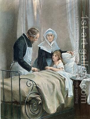 The Sick Child by Henri Alphonse Laurent-Desrousseaux - Reproduction Oil Painting