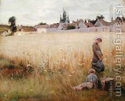 Children in a Field by Henri Alphonse Laurent-Desrousseaux - Reproduction Oil Painting