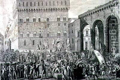 The Morning of the 3rd of June 1799 when the Florentine People Celebrated the Raising of the Grand Ducal Arms by (after) Lasinio, Carlo - Reproduction Oil Painting
